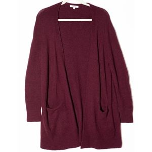 MADEWELL Open Front Ryder Cardigan Small, Burgundy